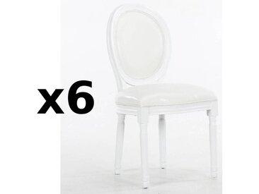 Lot de 6 chaises médaillon VERSAILLES style louis XVI polyuréthane blanc