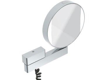 Miroir cosmétique et de rasage à LED Emco, réfléchissant des deux côtés, grossissement 3 et 7 fois, rond, éclairage à LED, bras articulé, câble spiralé et fiche. - 109506018