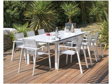 Ensemble table de jardin _ rallonge automatique en aluminium + 8 fauteuils en aluminium et textil