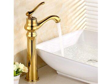 Robinet lavabo surélevé traditionnel sous forme de théière doré