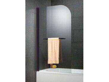 Schulte - Pare-baignoire rabattable 80 x 140 cm, verre 5 mm anticalcaire, paroi de baignoire 1 volet, écran de baignoire pivotant, Capri Deluxe profilé noir - Transparent