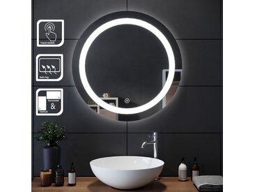 SIRHONA 70x70cm Miroir de maquillage monté sur mur avec miroir éclairé rond et miroir de salle de bains avec contr?le par capteur, anti-poussière et anti-buée, lumière blanche froide