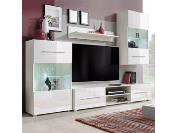 Meuble TV mural avec éclairage LED 5 pièces Blanc