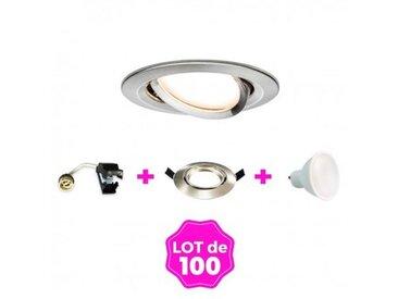 100 Spots encastrable orientable Alu Brossé avec GU10 LED de 7W eqv. 56W Blanc Froid 6000K