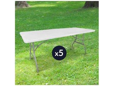 Lot de 5 Tables de Jardin Pliantes 180 cm Rectangulaire Blanche - Table de Camping 8 personnes L180 x l74 x H74cm en HDPE Haute Densité Épaisseur 3,5 cm - Pieds en Acier Pelliculé Gris