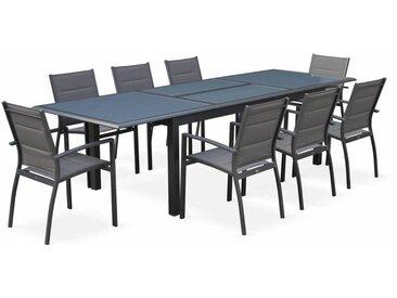 Salon de jardin table extensible - Philadelphie Gris anthracite - Table en aluminium 200/300cm, 8 fauteuils en textilène