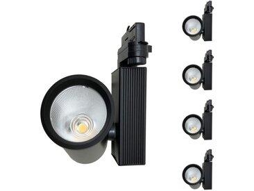 Spot LED sur Rail 35W 80° COB Triphasé NOIR (Pack de 5) - Blanc Chaud 2300K - 3500K