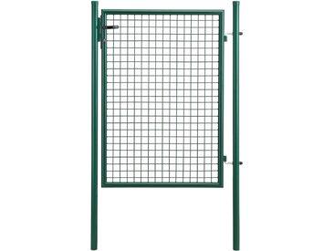 Porte de jardin zingué [100x125cm] vert- incl serrure et 3 clés -