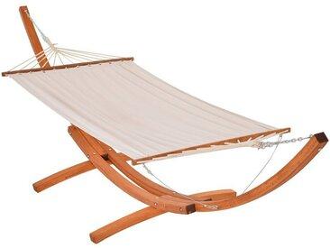 Hamac de jardin avec support en bois hamac sur pied 2 personnes 3,92L x 1,2l x 1,1H m coloris crème marron