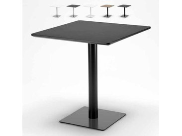 Table carrée 70x70 pour bars restaurants hôtels base centrale HORECA | Noir - Verni en Noir