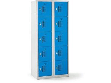 QUIPO – Vestiaire multicases verrouillable par dispositif pour cadenas, 10 cases - h x l x p 1800 x 800 x 500 mm, bleu