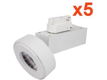 Spot LED sur Rail 12W 38°Monophasé BLANC (Pack de 5) - couleur eclairage : Blanc Neutre 4000K - 5500K