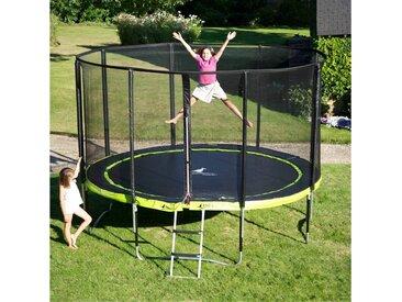 Kangui - Trampoline de jardin 365 cm + filet de sécurité + échelle PUNCHI Vert 360 - Vert