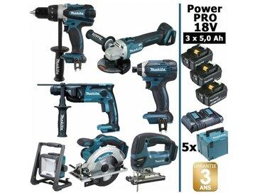 Pack Power PRO 7 outils 18V: Perceuse DDF458 + Perfo DHR202 + Meuleuse DGA504 + Visseuse à choc DTD152 + Scie sauteuse DJV180 + Scie circulaire DSS610 + Lampe DEADML805 + 3 batt 5Ah + 5 Coffrets Makpac MAKITA