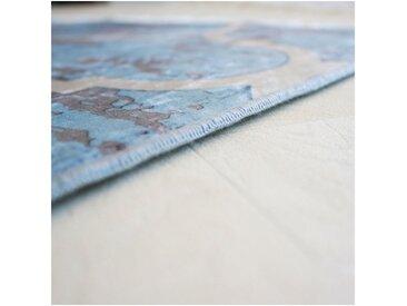 tapis scandinave à franges plat graphique Jahia Turquoise 160x230