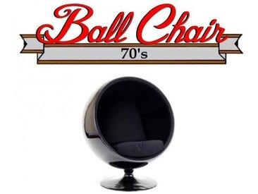 Fauteuil boule, Ball chair coque noir / intérieur velours noir. Design 70's.