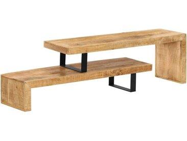 Helloshop26 - Meuble télé buffet tv télévision design pratique bois de manguier massif - Bois