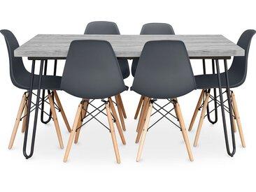 Table à manger Hairpin gris 150x90 + 6 chaise Deswick Gris foncé