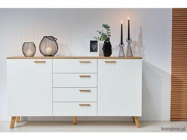 FRILI | Commode buffet enfilade style scandinave chambre/salon/entrée | 150x81x46 cm | 2 portes + 4 tiroirs | Design nordique | Blanc/Chêne - Blanc/Chêne