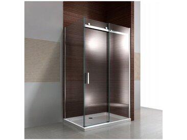Paroi de douche fixe et porte coulissante EX806, en verre de sécurité traitement NANO - 90 x 120 x 195cm : Montage à droite