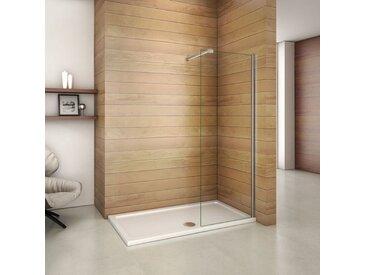 Paroi de douche 70x200cm paroi de douche à l'italienne verre anticalcaire avec barre de fixation extensible cylindrique