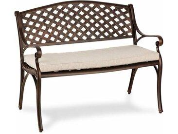 Blumfeldt Pozzilli AN Set banc de jardin + coussins de siège cuivre & beige