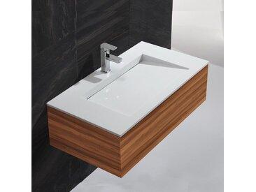 Lavabo Suspendu Rectangulaire - Solid surface Blanc Mat - 90x50 cm - Single