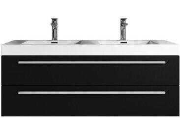 Meuble de salle de bain Rome 120cm lavabo bois noir – Armoire de rangement Meuble lavabo
