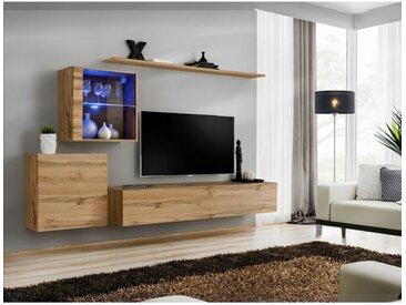 Ensemble mural - Switch XV - 2 vitrines - 1 banc TV - 2 étagères - Bois - Livraison gratuite