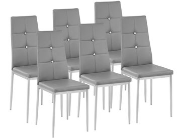 6 Chaises de Salle à Manger Design Cadre en Acier Dossier à Strass Gris