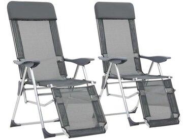Chaises de camping pliables 2 pcs et repose-pied Gris Aluminium