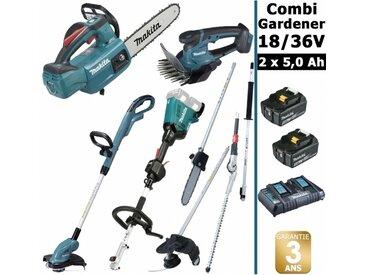 Pack 18/36V Combi Gardener: outil multifonction avec 4 accessoires + tronçonneuse 36V 30cm + coupe herbe 18V + taille herbe 18V + 2 batt 5Ah MAKITA DUX60 DUC254 DUR181 DUM604