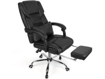 Multifonction Fauteuil de Bureau Ergonomique Chaise pour Ordinateur avec Repos-Pieds Hauteur Réglable Noir