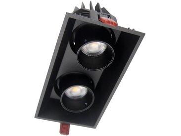 Downlight LED Dimmable Double Spot Orientable 2x9W Noir Rectangle 120° - Blanc Chaud 2300K - 3500K
