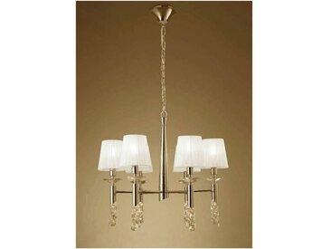 Suspension Tiffany 6+6 Ampoules E14+G9, doré avec Abat jour blancs & cristal transaparent
