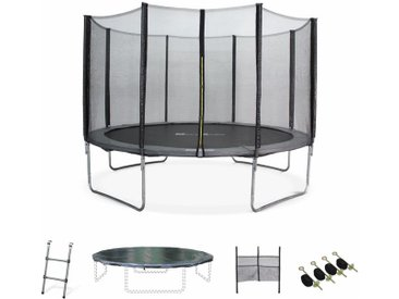 Pack Trampoline Ø370cm - Saturne XXL gris, filet de protection, échelle, bâche, filet chaussures, kit d'ancrage 370 cm 3m