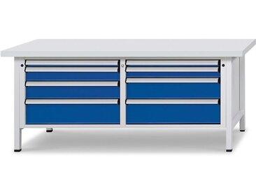 Etabli avec tiroirs de format XL/XXL - largeur 2000 mm, 8 tiroirs - plateau universel, façade bleu gentiane