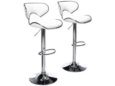 2 Tabourets en éco-cuir Chaise rembourrée Chaise de cuisine Pub mod.106 Couleur Blanc