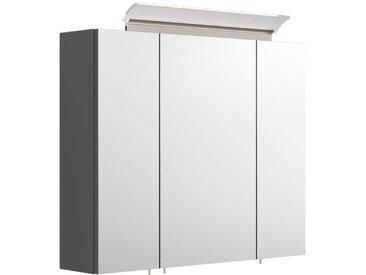 Armoire de toilette avec miroirs et Lampe LED acrylique 75cm Anthracite satiné