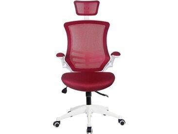 Chaise pivotante de bureau Flexi - avec dossier maille filets et appuie-tête, rouge