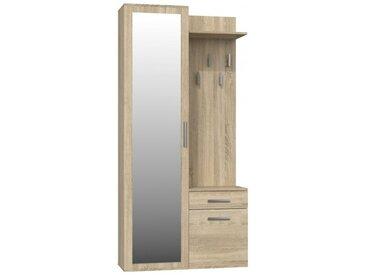 SHEILA | Vestiaire avec miroir entrée | Armoire + porte-manteau | Rangements chaussures + miroir + crochets - Sonoma