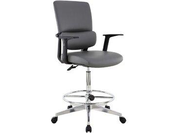 Chaise d'atelier pivotante Parity - habillage cuir et roulettes, gris - Coloris: gris