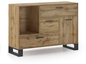 Buffet de salon/salle � manger, Buffet auxiliaire LOFT 1 porte, 3 tiroirs, tous en couleur Ch�ne rustique. Dimensions : 120x40x86cm.