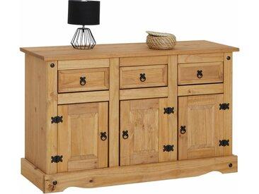 Idimex - Buffet SALSA commode bahut vaisselier en bois style mexicain avec 3 portes et 3 tiroirs, en pin massif finition teintée/cirée