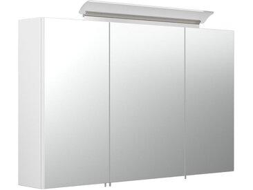 Armoire de toilette avec miroirs et Lampe LED acrylique 100cm en Blanc brillant