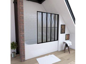 Aurlane - Pare baignoire 5 volets pivotants - profiles noir mat - verre transparent 4mm - QUINTUPLE BLACK