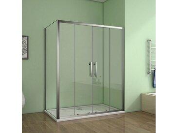 Cabine de douche 140x80x190cm porte de douche à l'accès au centre + paroi latérale
