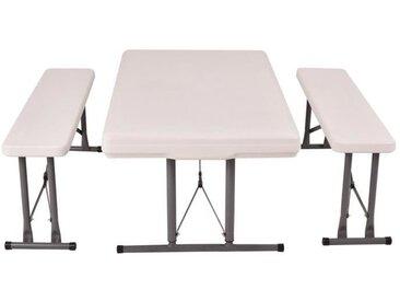2 Bancs et Table Ensemble Bancs et Table Ensemble Table Pliante et 2 Bancs Capacité de Charge de 150 kg Blanc
