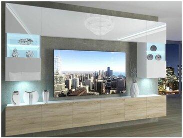 Hucoco - PRINS | Ensemble meubles TV | Unité murale style moderne | Largeur 300 cm | Mur TV à suspendre finition gloss - Blanc/Sonoma