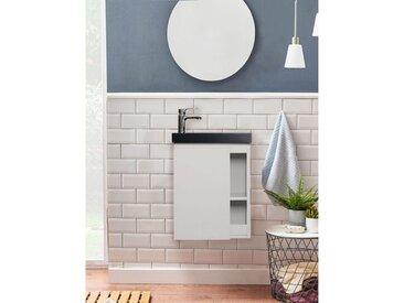 Meuble Lave-mains Blanc Avec Vasque Noire En Résine L41,5 X H53 Hampton